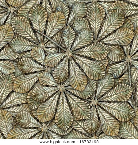 Bronze chestnut leafs seamless background - seamless pattern for continuous replicate.