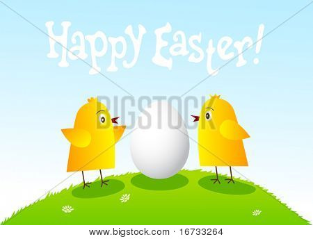 Happy Easter card with funny chickens and egg.