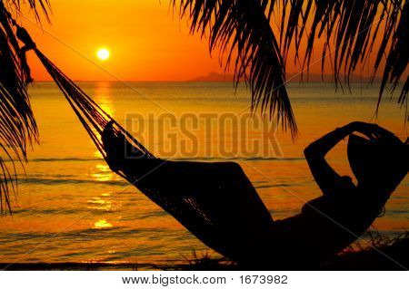 Sunset And Hammock