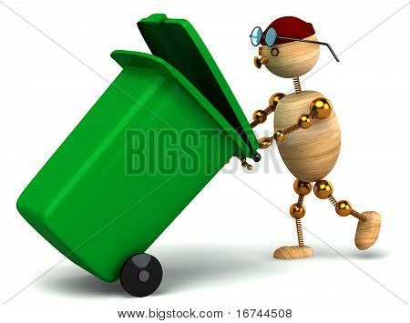 3D Wood Man Pulling Green Waste Container