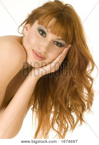 Beautiful Redheaded Topless Woman Smiling
