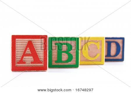 wooden blocks with ABCD letters isolated on white