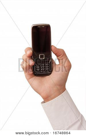 hand holding the mobile phone