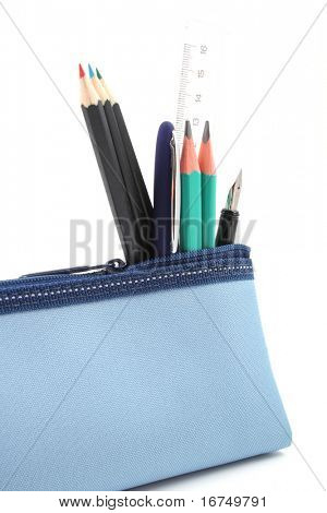 blue pencil case with school supplies isolated on white