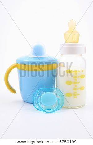 bottle of milk and pacifier - baby stuff