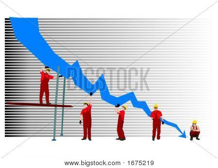 Insucesso empresarial e gráfico de depressão
