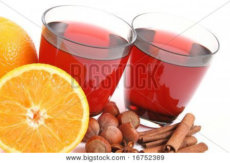 two glasses of hot wine - perfect for winter - isolated on white
