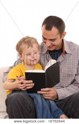 father and 3-4 years old kid reading book isolated on white