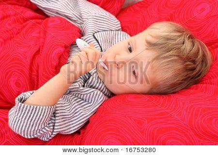 3-4 years old preschooler in bed - sick