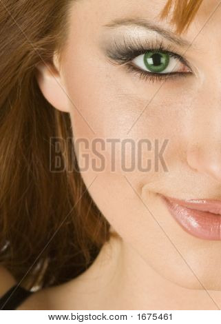 Beautiful Redheaded Woman In Half Portrait