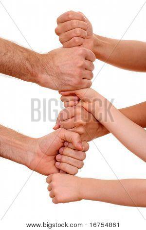 muitas mãos humanas isoladas em branco - conceito de equipe
