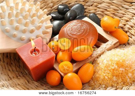 bar of gliceryne soap and bath salt - natural kumquat bath