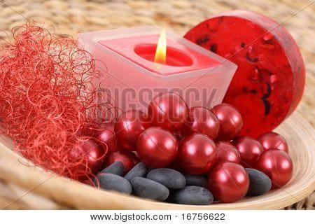 cosmetic bath balls and glycerin soap - body care - beauty treatment