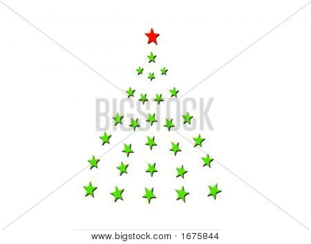 Christmas Tree Of Stars On White