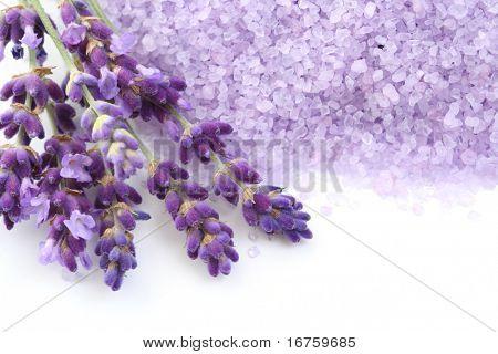 Lavendel Badesalz und einige frische Lavendel, isolated on white