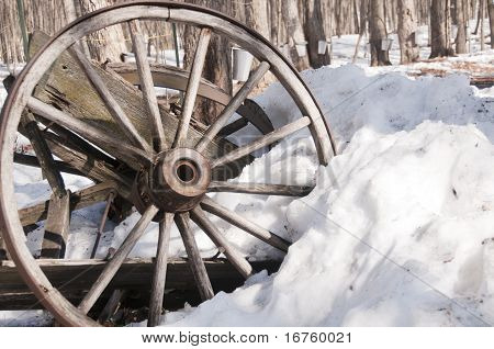 Old Wagon Wheel In The Snow