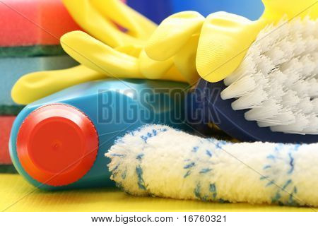 close-ups of cleaning supplies - housework