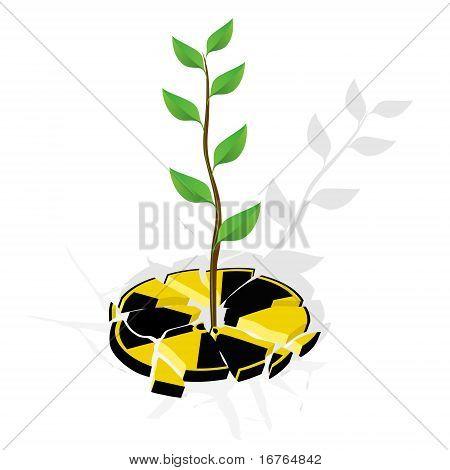 Broken sign nuclear danger and renewable energy