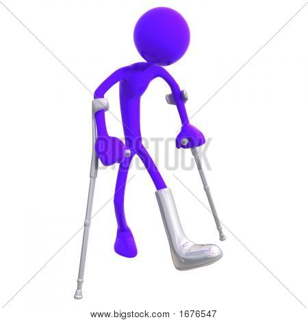 3D Wounded Human Trying To Walk With Crutches