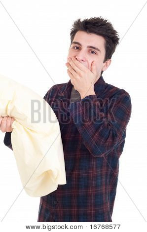 Man In Pajamas Holding Pillow