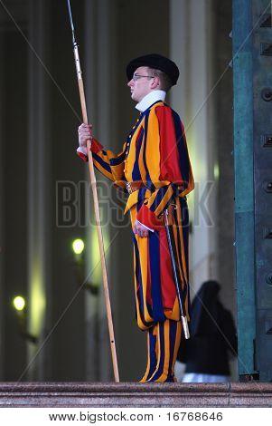 Swiss guard of Vatican on a duty
