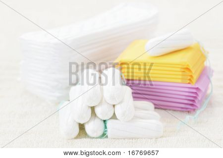 sanitary tampon and towel - beauty treatment