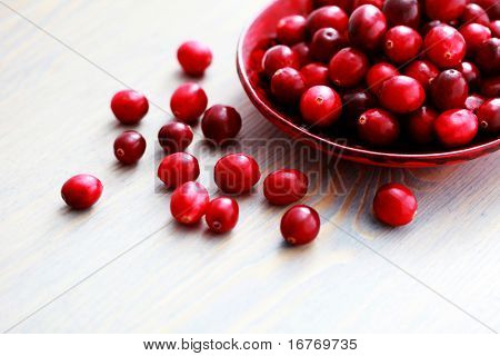 bowl of fresh cranberries - fruits and vegetables
