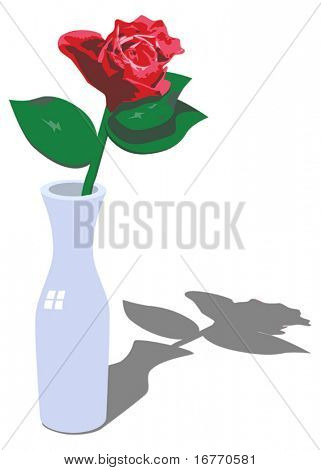 Red rose & simple vase vector. Shadow is on own layer, can be made non-visible with 1 click. All effects are pure vector, nothing AI-exclusive, so it should be usable as-is in Corel & Freehand.
