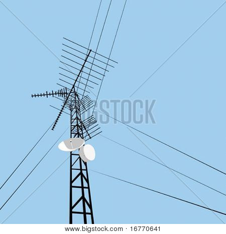 A tower, wired to wireless comm. Pure vector, no gradients or other CS effects, so this image should work well in Corel, Freehand, etc (have fun adding your own gradient sky and other effects).