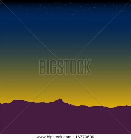 Desert mountain range at nightfall or dawn (actually, the horizon looking East from N Tucson, AZ)