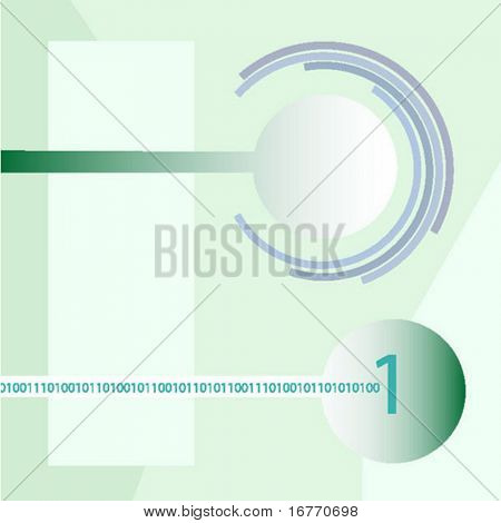 Abstract design of concentric circles, nodes, and digital elements, with room for text.
