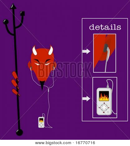 Hell of a hot vector MP3 player, with earbuds, for use as design elements, even icons. Devil included free.