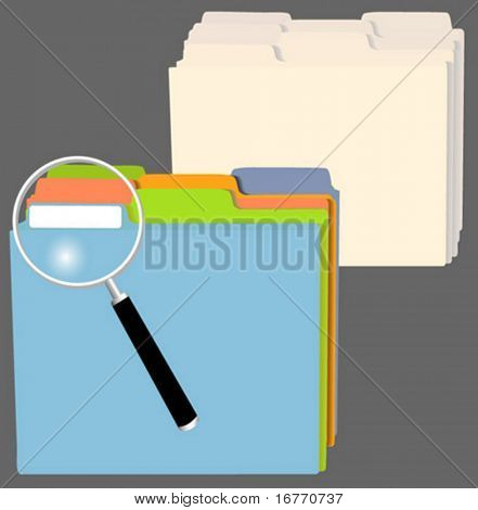 A set of file folders in assorted colors, and another in manilla. Also a magnifying glass to indicate: search, research; and so on.