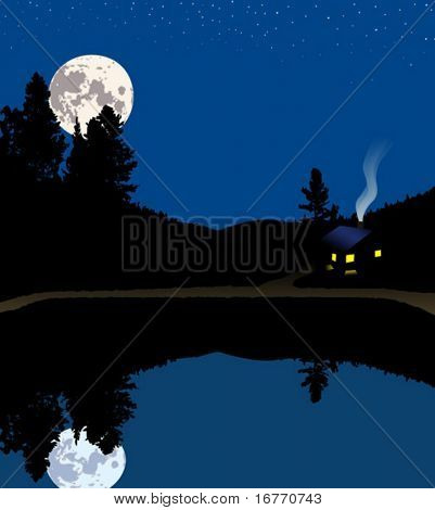 A lake cabin or house in the mountains under a full moon night.
