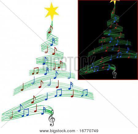Uma árvore de Natal de notas musicais, simbolizando natalinas e outras músicas de Natal, parece ser bom