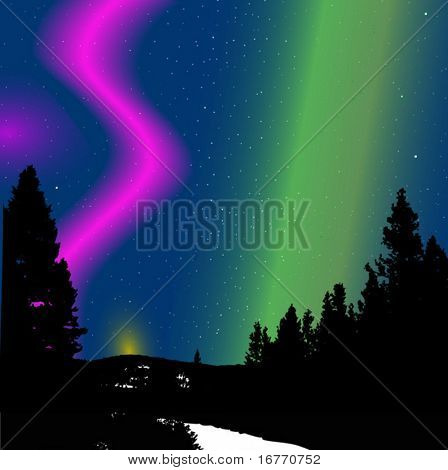 Nature's Christmas Lights, a mountain & forest scene beneath a display of the aurora borealis.