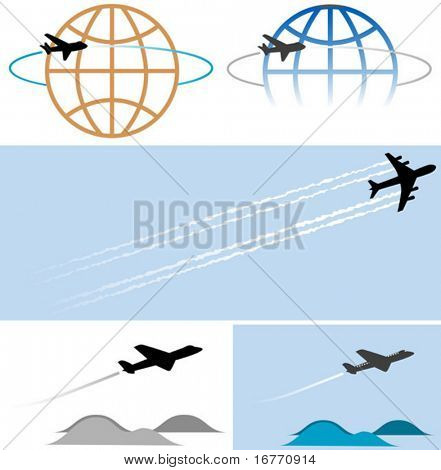 3 unique jet-shapes in 5 design elements. Your travel and other airplane-related graphics will take off with these high-flying icons/illustrations.