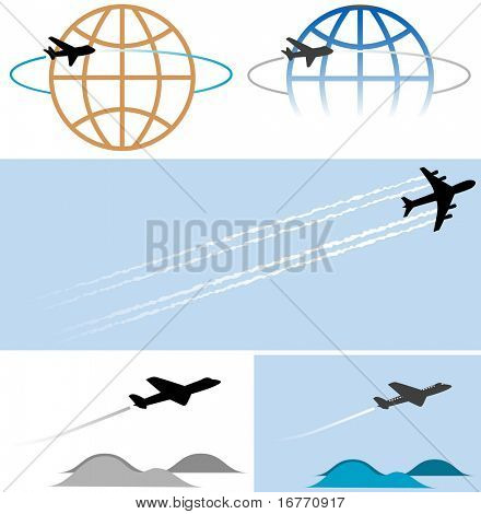 Your travel and other airplane-related graphics will take off with these high-flying icons/illustrations. Clean render of a vector.