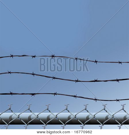 Vector illustration of the top of a a chainlink fence topped by three strands of barbed wire, against a skyscape.
