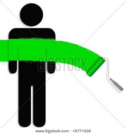 Bright green paint on a person with a paint roller: environment; envy; school colors; painters; change; renewal
