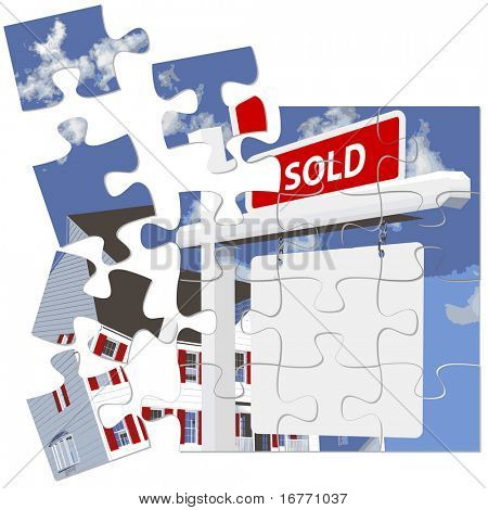 A 'real' jigsaw puzzle of a SOLD real estate sign in front of a new home. Each puzzle piece can be moved independently.