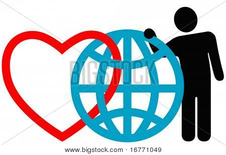 """Symbolic friends (heart, globe, man) pose together at the annual International Symbol Reunion. """"Love the Earth."""""""