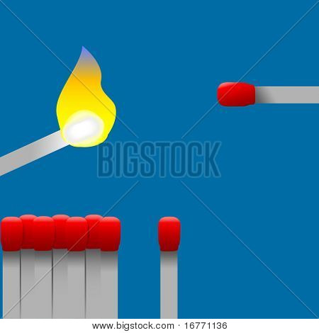 Red hot book matches. Light up. Start a fire. Burn it. Icons for flame, heat.