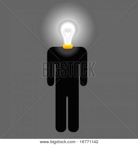 Symbol (or icon) for idea lightbulb head man, creative inventor, thinking person.