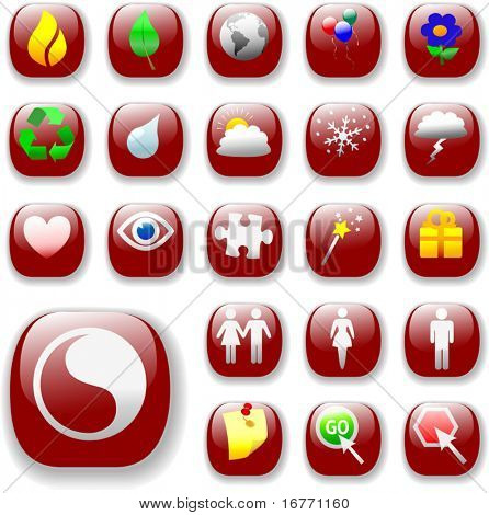 Set of shiny button icons. The ruby red Signs & Symbols Collection, with drop shadows.