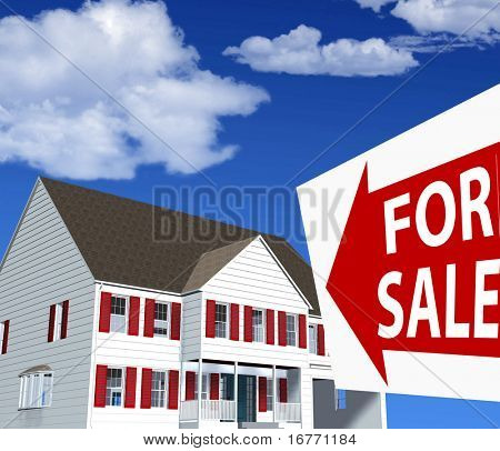 Clean, bright illustration (photorealistic, not photo) of new home - house & FOR SALE real estate sign.