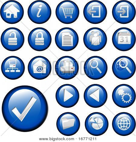 Set of shiny blue inset Control Button Icons for white or gray backgrounds.