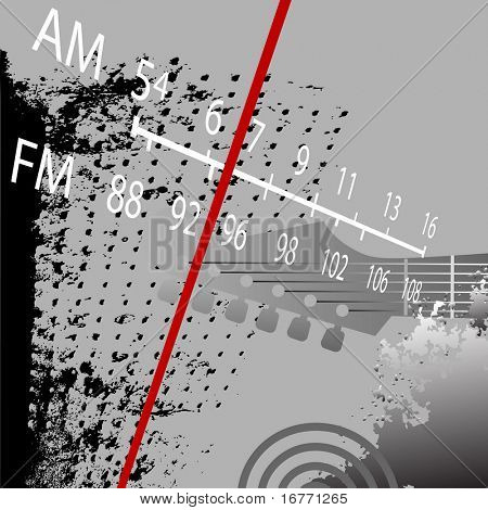 Radio Grunge Retrospective: AM FM Radio Tuner with red station indicator.