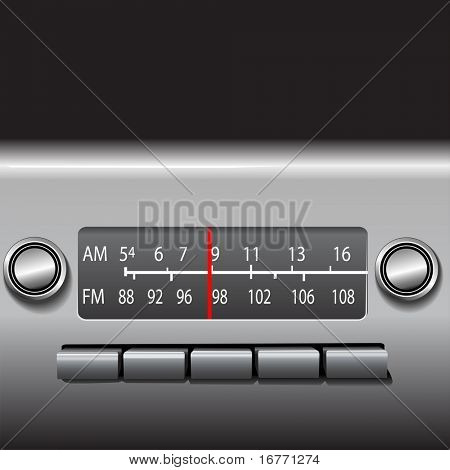 AM FM Car Dashboard Radio Tuner with red station indicator. ILLUSTRATION, NOT A PHOTO.