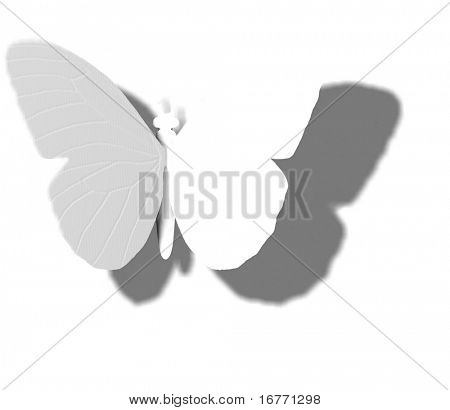 Outline, shadow, and wing veins of invisible butterfly or moth. Create your own wing designs or use the whitespace as copyspace.